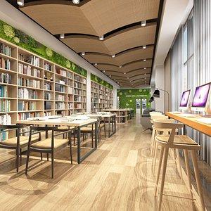 Modern Mini Library Reading Hall 3D model