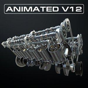 3D V12 Engine Working Animated model
