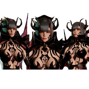 Succubus Female Game Ready Low-poly 3D model 3D model