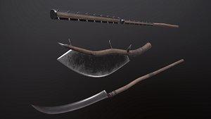 3D model Flail battle ax and war scythe