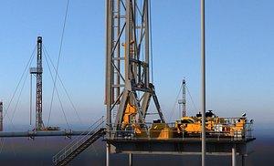 Offshore drilling oil offshore platform drilling operation oil drilling platform drilling oil pumpin 3D