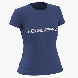 3D Female Crew Neck Worn Dark Blue Housekeeping 02(1) model