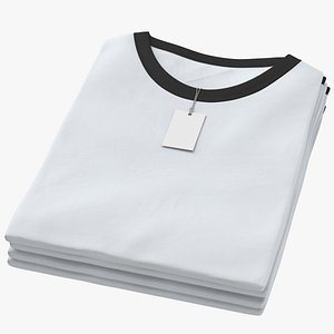 3D Female Crew Neck Folded Stacked With Tag White and Black 01