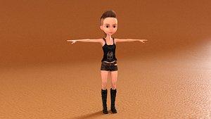 laomusic cartoon female 3D model