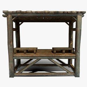 Wooden shelf 3D