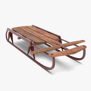 vintage wood sled model