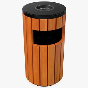 3D Outdoor Round Trash Bin with Ashtray model
