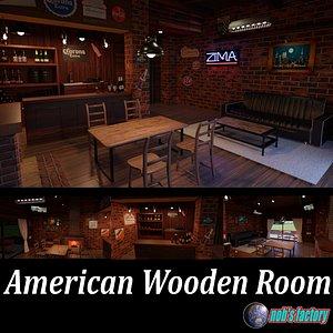 3D american wooden room wood model