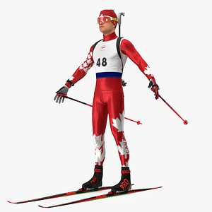 Biathlete Fully Equipped Canada Team Rigged 3D