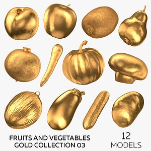 Fruits and Vegetables Gold Collection 03 - 12 models 3D
