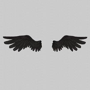 Angel Wings Black - Low poly 3D model