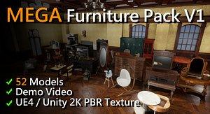 3D MEGA Furniture Pack model
