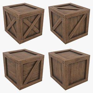3D Wooden Crate Set model
