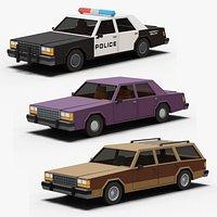 Stylized Cartoon Cars Police Sedan and Wagon 80s Low-poly