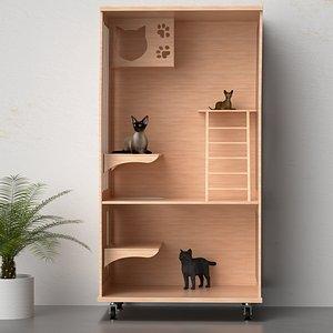 3D model Cat Climb Cat House Cat House Cat Cage Cat Cat Show Dog House Pet Room Black Cat Siamese Cat