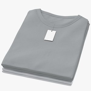 3D model Female Crew Neck Folded Stacked With Tag Color Variations 09