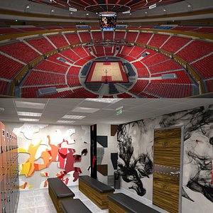 3D Basketball Arena and Locker Room