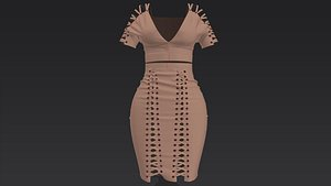 marvelous designer suede dress 3D