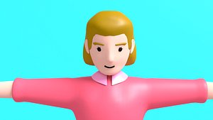 3D woman character motion model