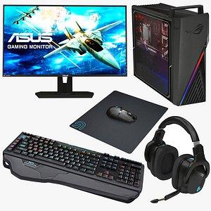 3D model computer gamer set