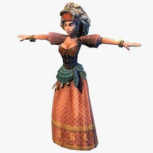 3D peasant village girl
