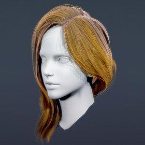 Character-RealTimeFemaleLongHair08 3D model