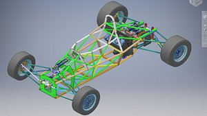 formula car full chassis 3D model