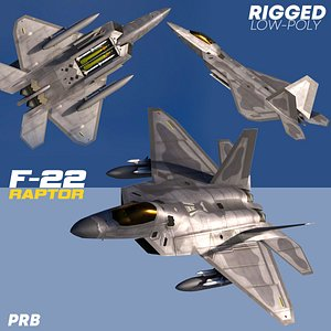 3D F-22A RAPTOR  Rigged Low-Poly model
