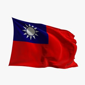 Realistic Animated Flag - Microtexture Rigged - Put your own texture - Def  Taiwan 3D model