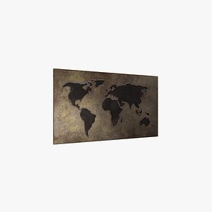 world worldmap copper 3D model