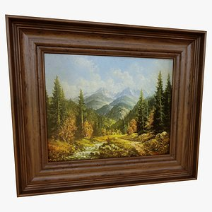 3D River Forest Oil Painting model