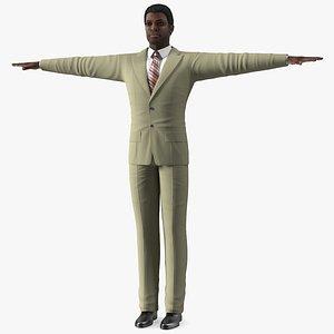 3D Dark Skin Afro American Businessman T Pose