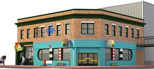 3D Hill Valley 2015 Café 80's and Blast from the Past model