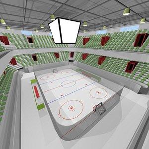 low poly cartoon hockey arena 3D model