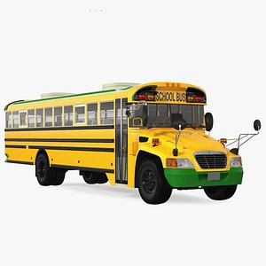 3D Electric Blue Bird Vision School Bus Rigged