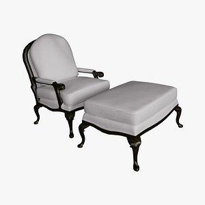 3D model chair ottoman style