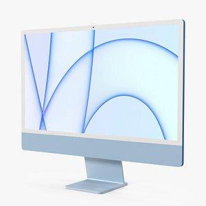 3D Apple iMac 2021 Blue model