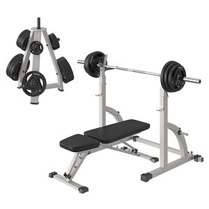 barbell bench press 3D model