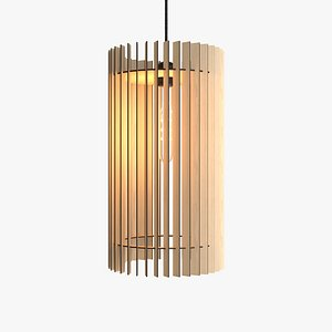 3D model wooden pendant bulb lamp