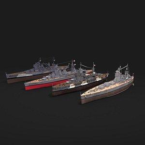 3D Royal navy battleship collection model