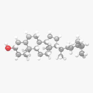 Cholesterol - C27H46O Molecular Structure 3D