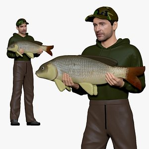 3D 001145 fish hunter with loot model