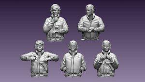 usa tank crew ww2 3D model