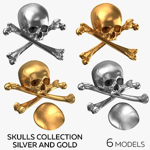 3D Pirate Skulls and Bones Collection Silver and Gold - 6 models