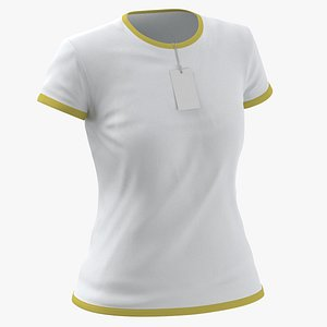 3D Female Crew Neck Worn With Tag White and Yellow 01 model