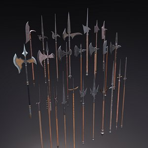 3D halberds spears