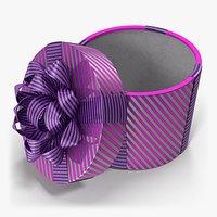 Gift Box Cylinder Purple Open