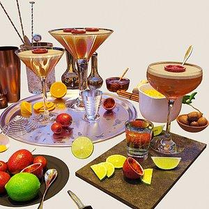 cocktail set pornstar martini 3D model