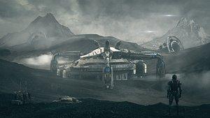 c4d octane Outer space science fiction scene alien planet barren 3D model 3D model