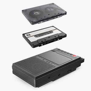 3D Electronic Tape Deck Recorder with Cassettes Collection